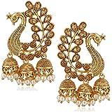 Shayza Jewellery Traditional Kundan Gold Peacock Jhumkas Jhumki Earrings for Women design