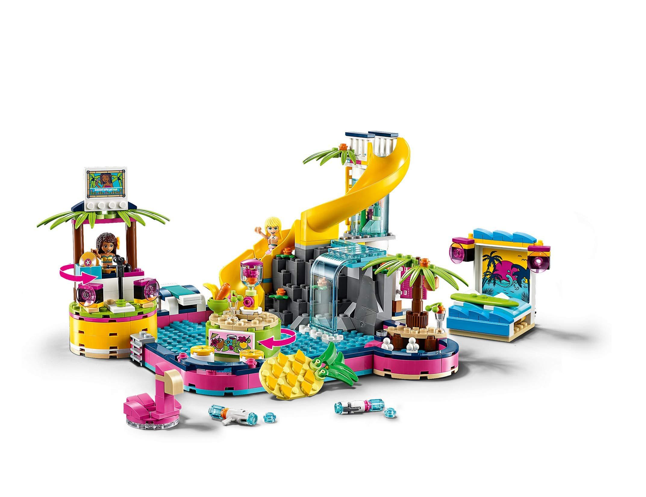 LEGO - Friends La festa in piscina con le Mini-Doll Andrea e Stephanie, DJ Box, Acquario e Pesce, Idea Regalo, 41374 3 spesavip