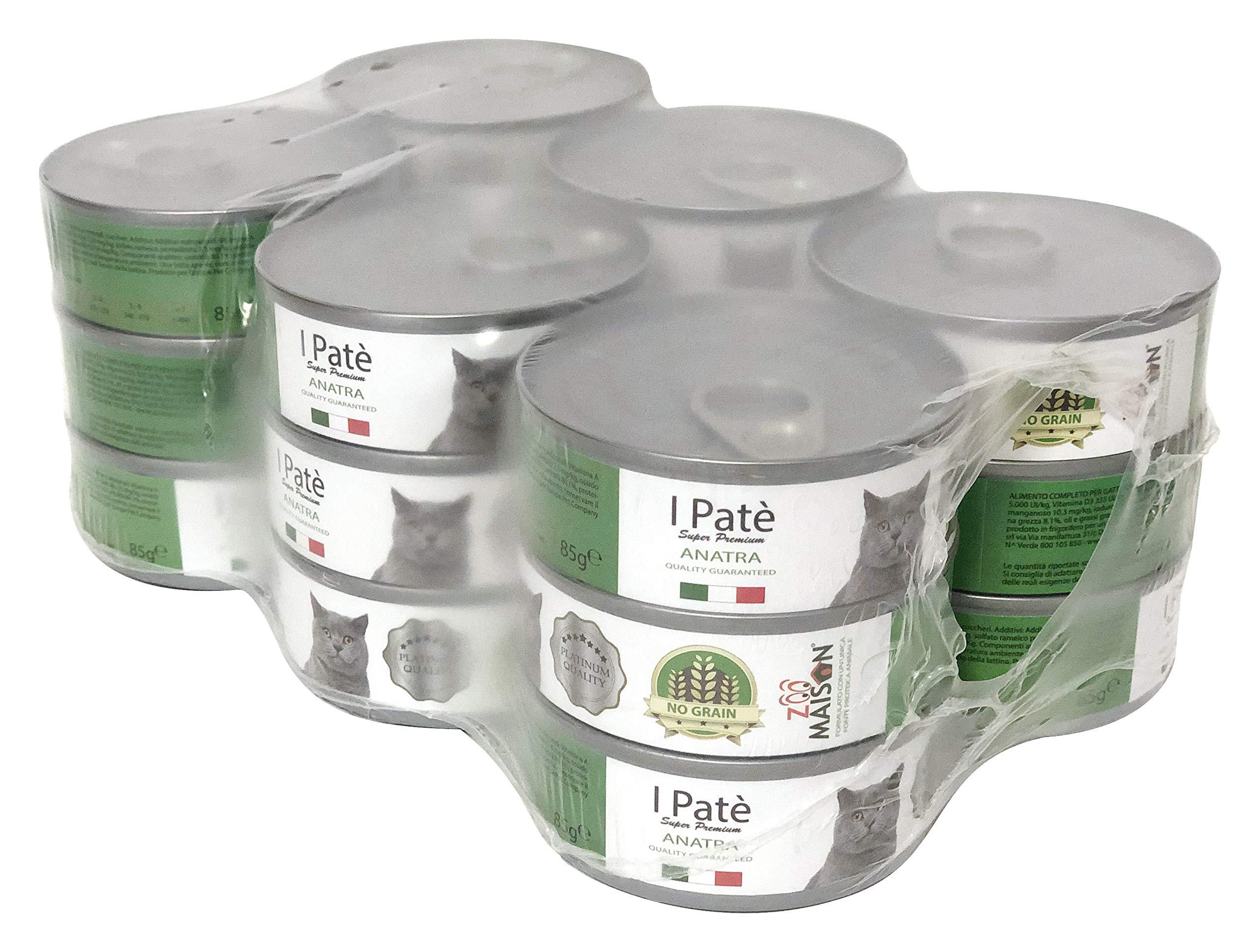 Zoo maison 18 Lattine da 0,85 Grammi di Patè Anatra Cibo Umido per Gatti Platinum Quality Grain Free Senza Glutine…