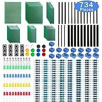 WayinTop Carte de Prototype PCB 6 Tailles avec Kit de Composants Electroniques, 2,54 mm 40 Pin Connecteur Mâle Femelle + 2/3Pin Bornier à Vis + Resistor Kit 10-1M Ohm + 5mm Diodes LED + Tact Tactile