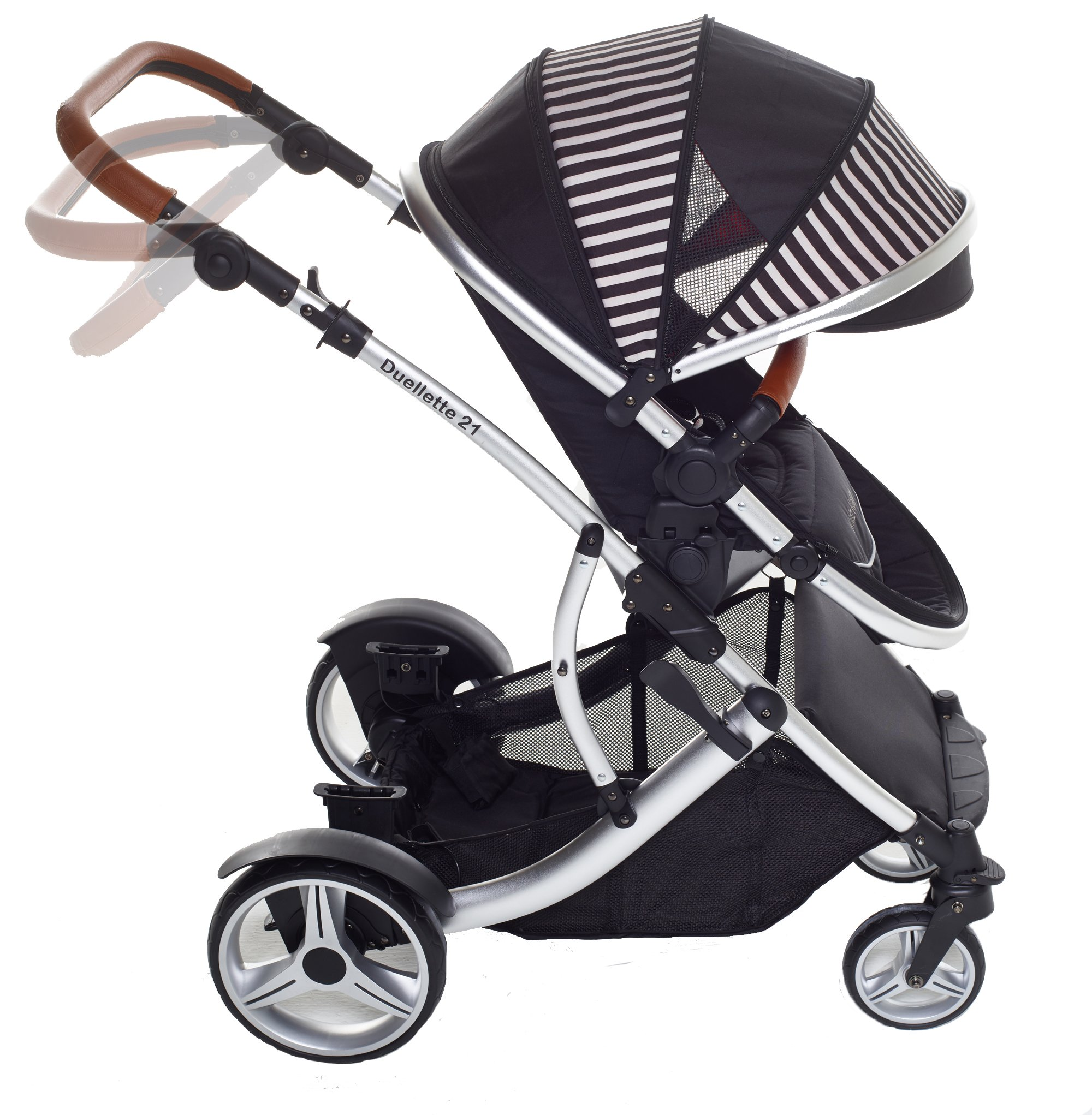 Kids Kargo Duellette 21 Bs Twin Double Pushchair Stroller Buggy with Tan Handle Pack (Oxford Stripe) Kids Kargo Fully safety tested Various seat positions. Both seats can face mum (ideal for twins) Suitability Newborn Twins (if used with car seats) or Newborn/toddler. Accommodates 1 or 2 car seats 4