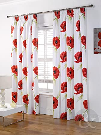 Red Curtains amazon red curtains : Just Contempo Poppy Pencil Pleat Lined Curtains, Red, 66x72 inches ...