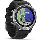 Garmin Fenix 5 Plus Smartwatch Multisport con Mappe GPS, Musica e Pagamento Contactless, Glass 47 mm, Silver con Cinturino Ne