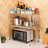 LC&TEAM Keukenrek, magnetronrek, magnetronhouder, kruidenrek, staand rek, werkbladen, keukenrek, 2 niveaus, metalen rek, vers