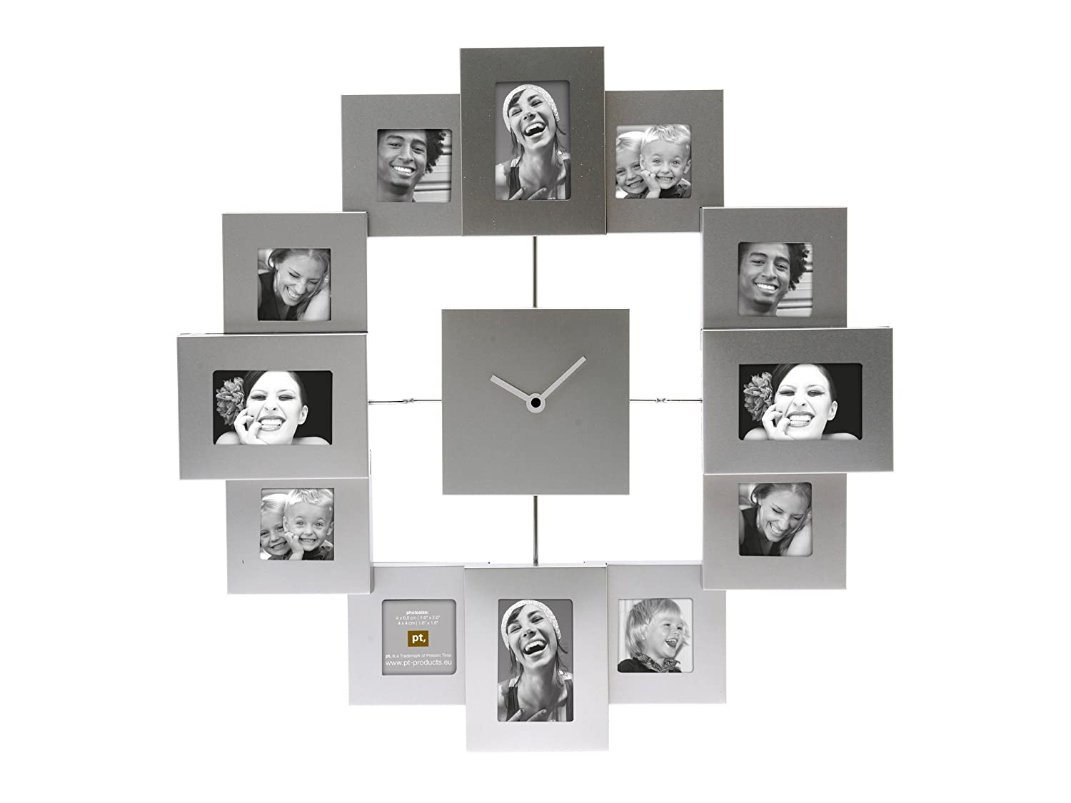Pt photo frame clock family time brushed aluminium silver large pt photo frame clock family time brushed aluminium silver large amazon kitchen home amipublicfo Gallery