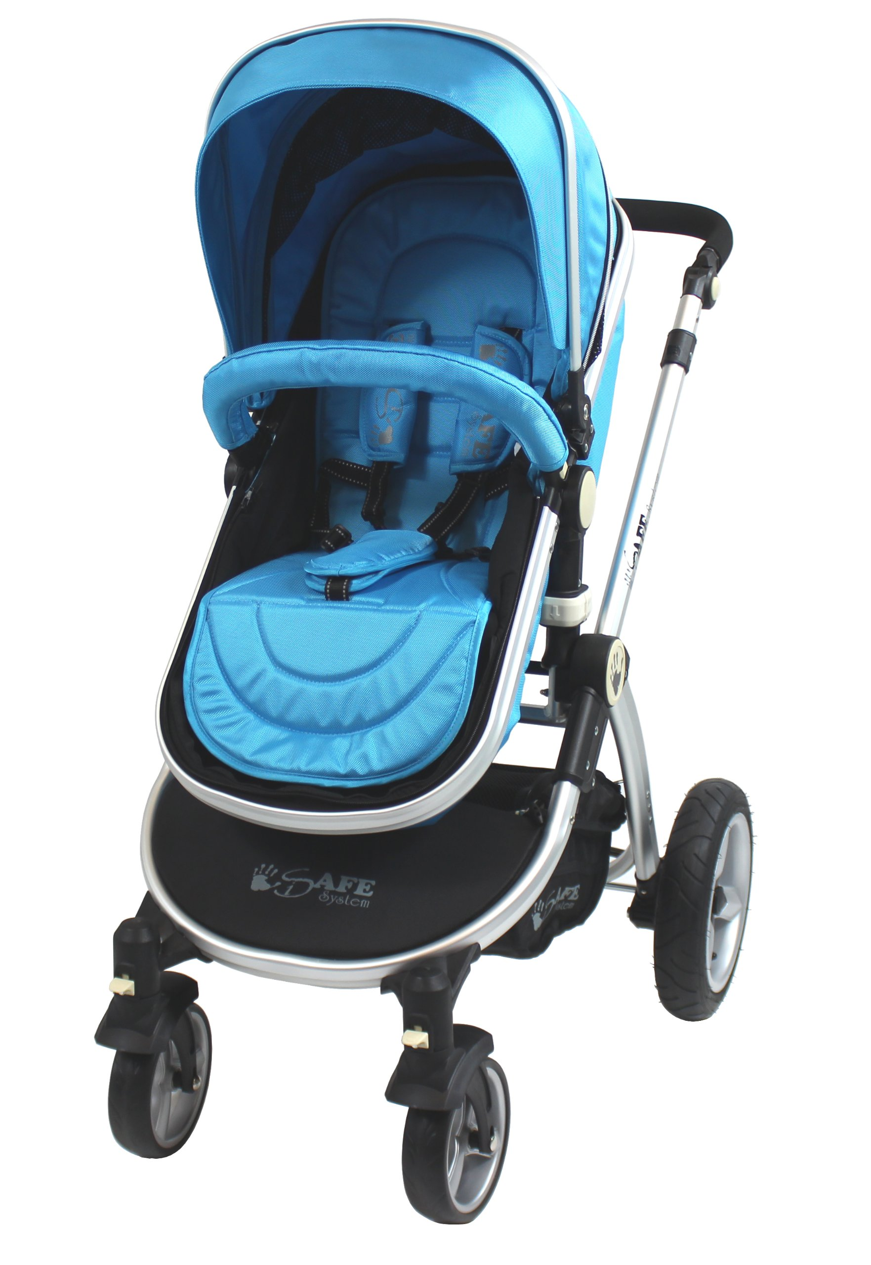 iSafe 2 in 1 Baby Pram System Complete (Ocean) iSafe We Are Proud To Present One Of The Finest 2in1 Stroller/Pram/Pramette/Travel System in the UK & Europe! 2 in 1 Stroller / Pram Extremely Easy Conversion To A Full Size Carrycot For Unrivalled Comfort. Complete With Boot Cover, Luxury Liner, 5 Point Harness, Raincover, Shopping Basket With Closed Ziped Top High Quality Rubber Inflatable Wheels With The Full All around Soft Suspension For That Perfect Unrivalled Ride 4
