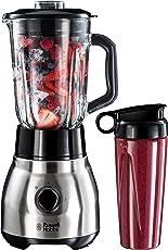 Russell Hobbs 23821-56 Glas-Standmixer Steel 2-in-1, Smoothie Maker inkl. To-Go-Becher mit Deckel, 0.8 PS-Motor, 22400 U/min, 1.5l, Edelstahl