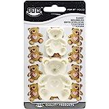 JEM 1102EP004 Lot de 2 Moule en Forme de Nounours pour Décoration de Gâteaux, Plastique, Blanc, 5 x 2 x 6 cm