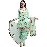 EthnicJunction Rajasthani Mirror Work Chanderi Embroidery Unstitched Salwar Kameez Dress Material