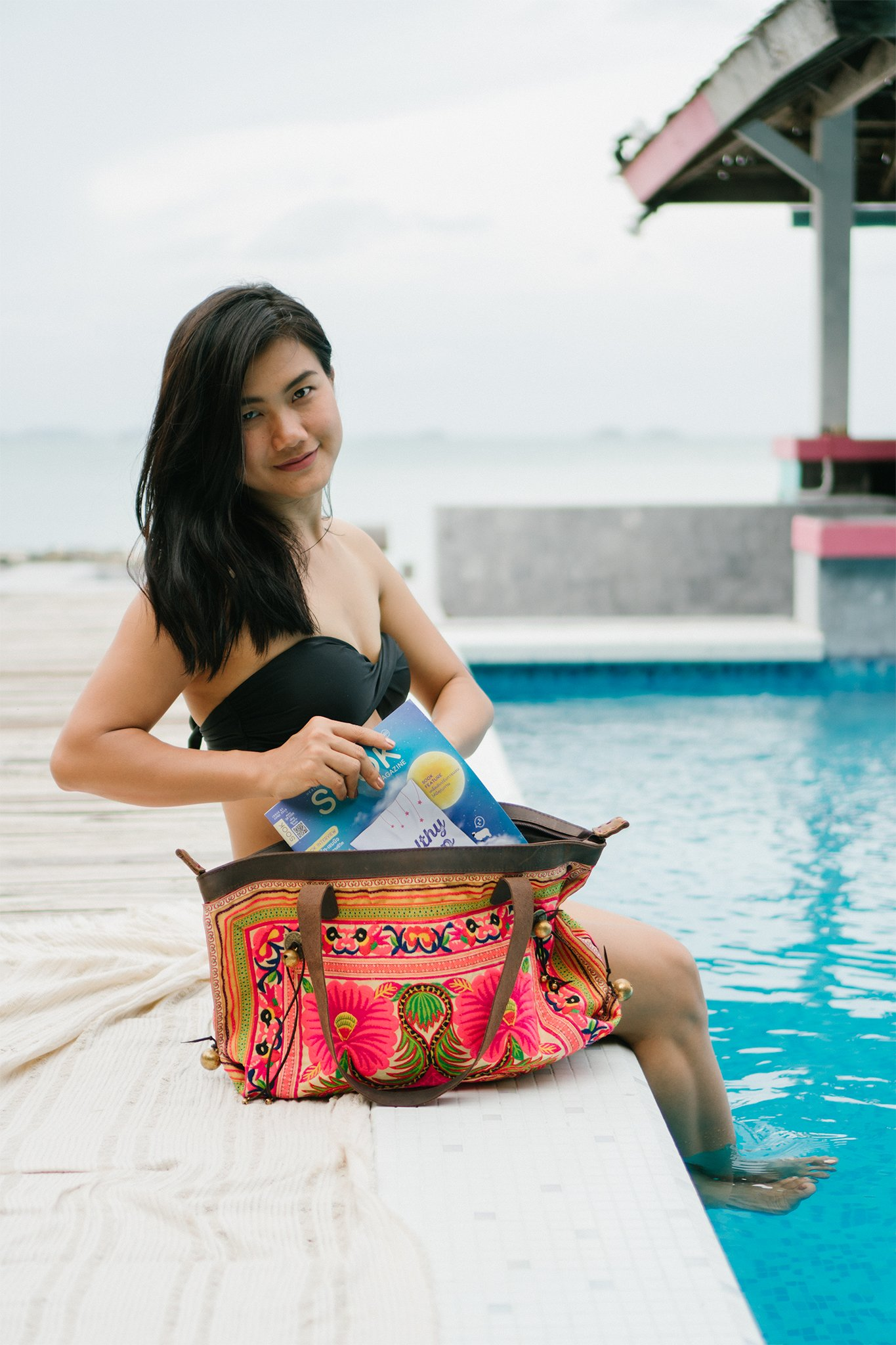 Changnoi Unique Fair Trade Women's Shoulder Bag with Hmong Embroidered, Genuine Leather Straps - handmade-bags