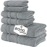 Eono by Amazon, Toallas de SPA y Hotel Juego de Toallas de 6 Piezas, 2 Toallas de baño, 2 Toallas de Mano y 2 toallitas(Viole