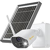 Anlapus 1080p Caméra de Surveillance avec Panneau Solaire Caméra IP WiFi sans Fil Extérieure à Batterie Rechargeable Audio Bi