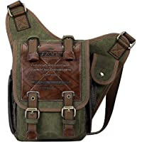 S-ZONE Herren Schultertasche Vintage Canvas PU Leder Crossbody Sling bag Brusttasche Military Sporttasche Multipurpose…