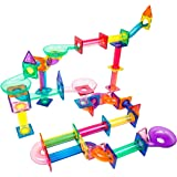 PicassoTiles Marble Run 120 Piece Magnetic Building Blocks Magnet Tile Construction Toy Playset STEM Learning Educational Blo