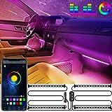 Oasser Striscia LED Auto Luci Interne per Auto Design 2 in 1 Funzionamento con un tocco Controllo vocale Porta USB APP Blueto