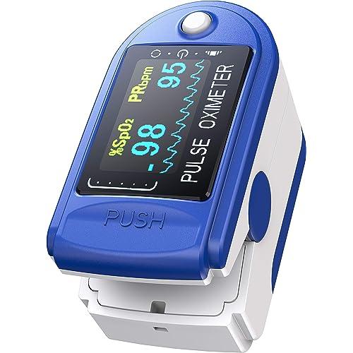 Ossimetro da Dito,Pulsossimetro da Dito Professionale, Sensore Digitale di Ossigeno Nel Sangue e Pulsazioni, con Allarme SPO2, per Uso Domestico, Fitness e Sport Estrem (Blu)