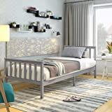 Lit Simple Adult en Bois 1 Place Comfort 196 x 98 x 82 cm, Gris
