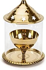 Decorate India Brass Small Akhand Diya with Molded Glass(11 cm Height)