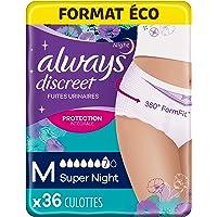 Always Discreet Super Absorbant Culottes, Taille M, Super Night, 36 Culottes, Format Éco, Pour Incontinence et Fuites…
