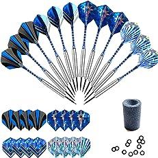 Gallop Chic Steel-Dartpfeile, 12 Stück Steel Darts Pfeile Set für Dartboard, 22 Gramm Profi Steeldarts mit Metallspitze, Flights, Aluminum Schafts, Neusilber Stahl Barrels, Dart Point Spitzer