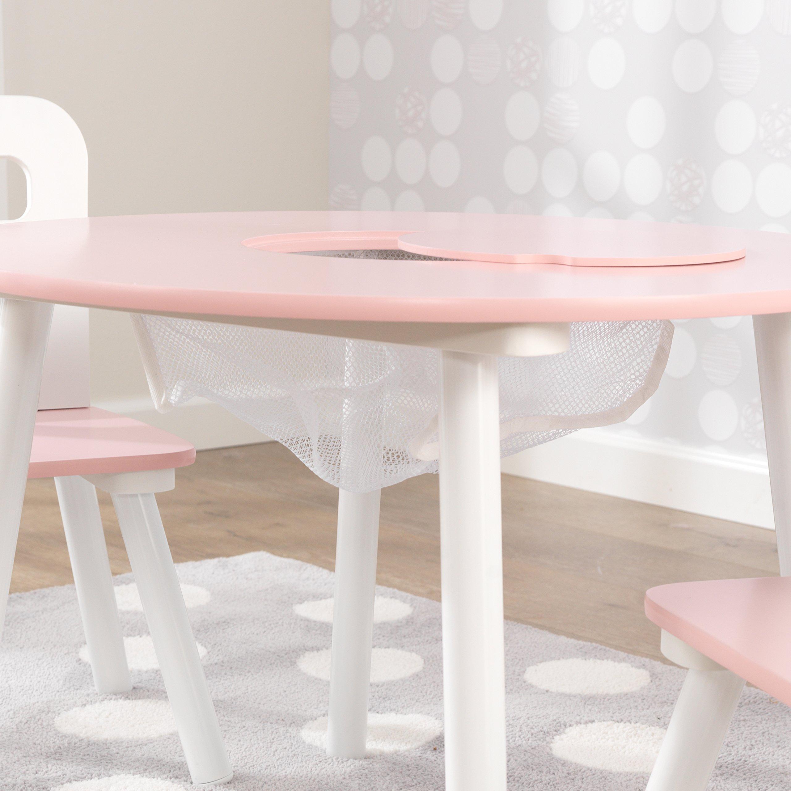 KidKraft 26165 Set Tavolo Rotondo con 2 Sedie in Legno, Mobili per Camera  da Letto e Sala Giochi per Bambini - Rosa e Bianco