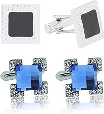 The Jewelbox Square Shape Crystal Enamel Blue Black RhodiumCuff LinksPair Combo for Men - Pack of 2