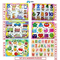 FunBlast (Set of 6 Puzzle Board) Wooden Colorful Learning Educational Board for Kids, Pack of 6 Puzzle Board Includes Alphabet, Numbers, Shapes and Symbols, Fruits, Vehicles and Animals-Multicolor