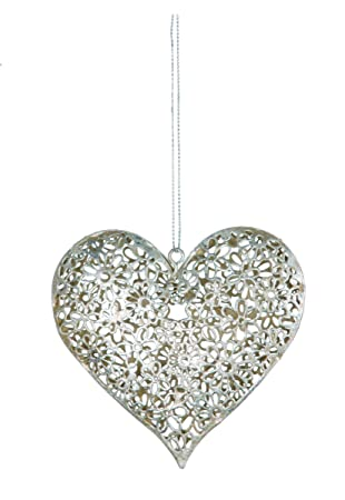 Silver Daisy Hanging Heart Decoration Perfect Shabby Chic Home