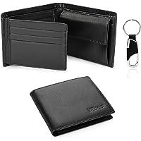 Portafoglio Uomo Vera Pelle Blocco RFID. Piccolo Portafoglio Con Portamonete Portafogli e Porta Chiavi Confezione Regalo…