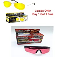 GosFrid Buy 1 Get 1 offer Night View NV Glasses by Natures Pillows: Virtually Indestructible, Perfect for Any Weather, Yellow Glasses Block Nighttime Glare, Reduces Eye Strain - (Red,Yellow) - set of 2
