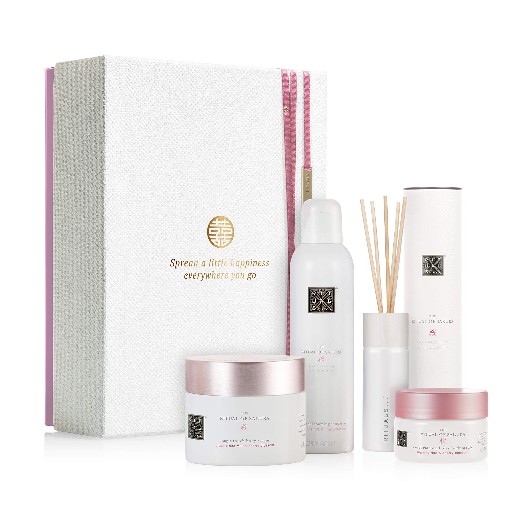 RITUALS The Ritual of Sakura Luxury and Relaxing Beauty Gift Set Large for Women, contains a shower foam, body scrub, body cream and mini fragrance sticks