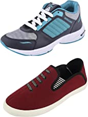 Chevit Combo Pack of 2 Casual and Sports Shoes for Mens (Loafers & Walking, Running Shoes)