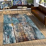 Paco Home Tapis Design Coloré Bois Effet Relief en Turquoise Jaune Beige Chiné, Dimension:80x150 cm
