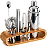 SKY-TOUCH 11-Piece Bar Tool Set with Stylish Bamboo Stand - Perfect Home Bartending Kit and Martini Cocktail Shaker Set For a