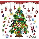Árbol De Navidad De Fieltro, 3.28ft Fieltro Árbol De Navidad DIY para Pared, Árboles De Navidad Decoración del Hogar con 32 O