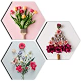 SAF Preety Flower and Leaf in Cone Pot 3 Pieces UV Textured Multi-Effect Self adheshive Painting 17 Inch X 17 Inch SANFHX3115