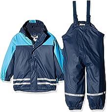 Playshoes Jungen Regenjacke Kinder Wasserdichter Matschanzug, Regenanzug mit Fleece-Futter, Reflektoren, Abnehmbare Kapuze