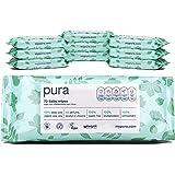 Pura Baby Wipes (10 Packs Of 70 Wipes, 700 Wipes), 100% Plastic Free, Biodegradable, 99% Water, Organic Aloe Vera Vegan…