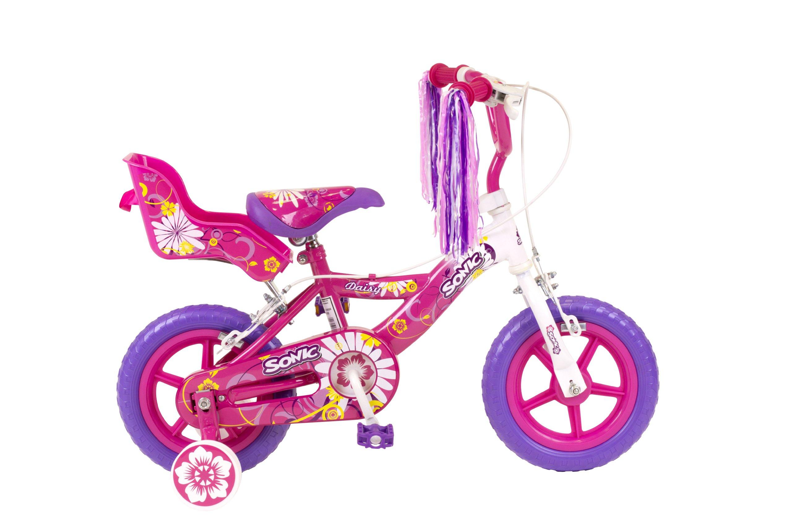 Sonic Daisy Girls Bike - White/Pink. 12 Inch