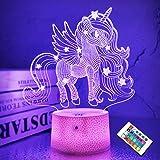 CooPark 3D Licorne Lights Fairy Illusion Lampe 16 Couleurs et Télécommande Optique Led Veilleuse Bureau LED Table Tactile Che