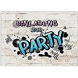 10 EINLADUNGEN zum Geburtstag PARTY GRAFFITI für Mädchen/Geburtstagsparty/Einladungskarten zur Party/Partyeinladungen