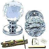 G Decor deurknop, massief, ronde kristallen snit, facetgeslepen, helder glas, chroom afwerking, 60 mm, 1 paar