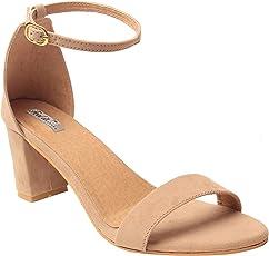 Feel It LeatheriteBlack Color Block Heel Sandals For Women's & Girl's