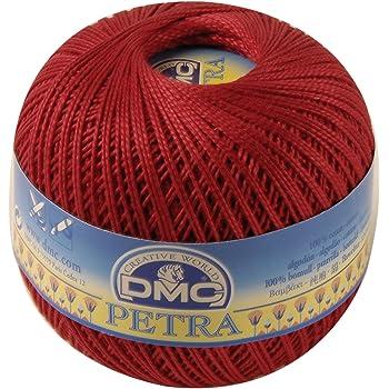 DMC Petra Yarn Size 5, 100% Cotton, Red, 9x9x8 cm