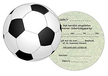 Set: 11 Einladungskarten Kindergeburtstag: Fussball Geburtstagseinladungen  Einladungen Geburtstag Kinder Jungen Mädchen (11 Karten