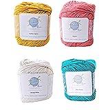 mindfulknits Hilo de Punto, Hilo de Crochet, Mente Plena y Relajación 100 por ciento Hilo de algodón, Multicolor, Mediano Núm