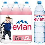 Evian Natural Spring Mineral Bottled Water - Set van 6 flessen - 1.5L per fles - Recyclebare container - Natuurlijk hydratere