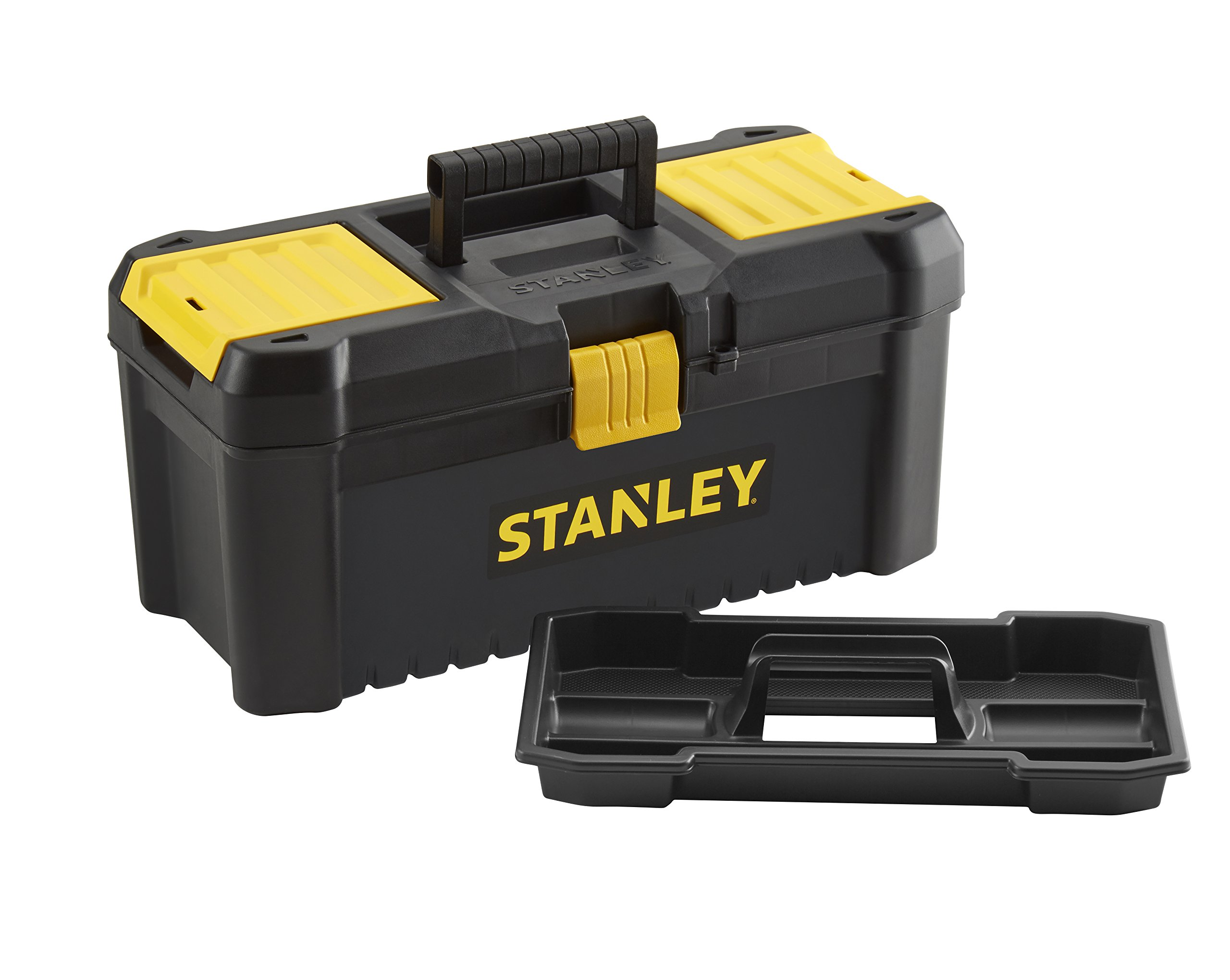 """2 x Essential 16"""" Toolbox with Plastic Latches, Black/Yellow"""