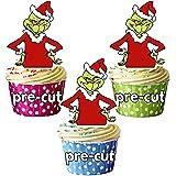 AK Giftshop Decoraciones precortadas de Navidad – comestibles para magdalenas/decoraciones para tartas (paquete de 12)