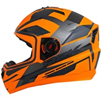Steelbird SBA-1 R2K Full Face Graphics Helmet in Glossy Finish (Medium 580 MM, Glossy Fluo Orange Grey with Clear Visor)